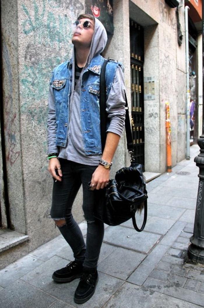 look punk fringues rock veste jean sans manche vintage jean slim lunettes rock style grunge