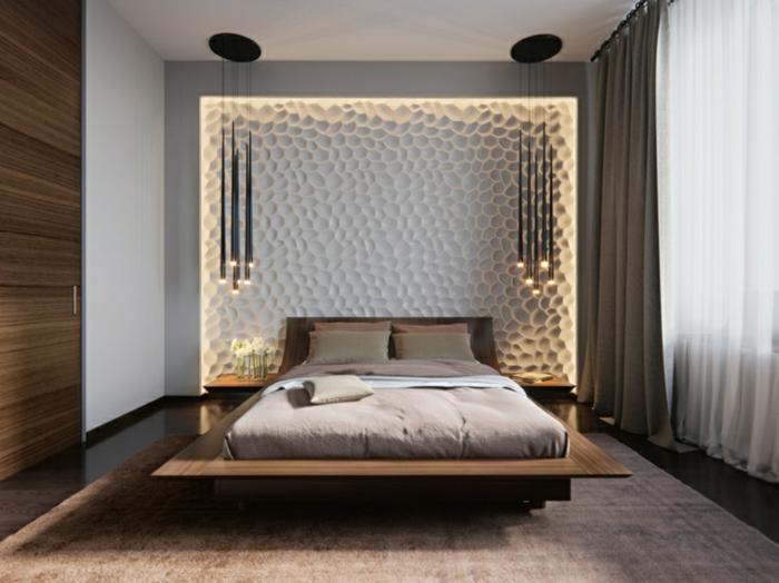 une chambre à coucher au design contemporain, lit flottant et panneau mural décoratif, suspension luminaire
