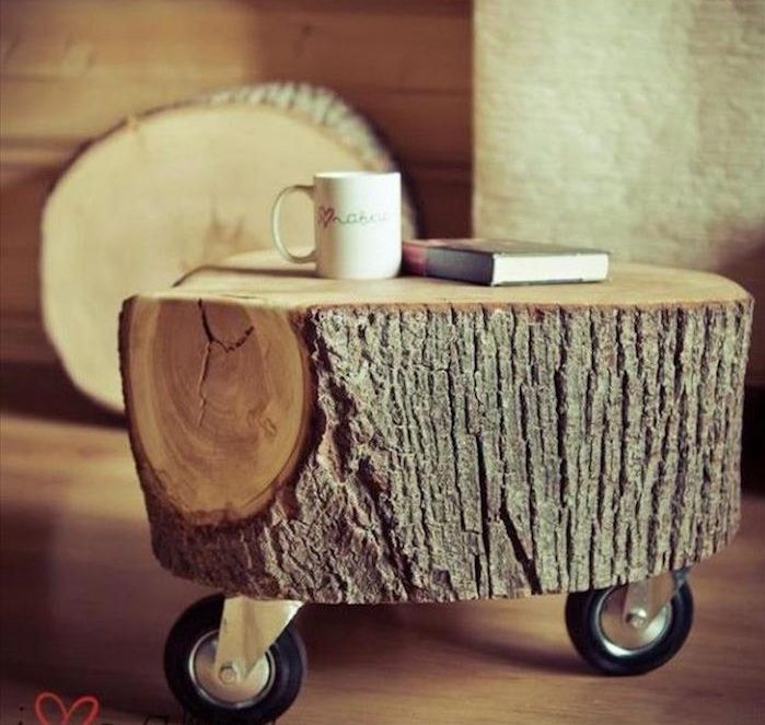 table à roulettes rond bois diy decoration nature