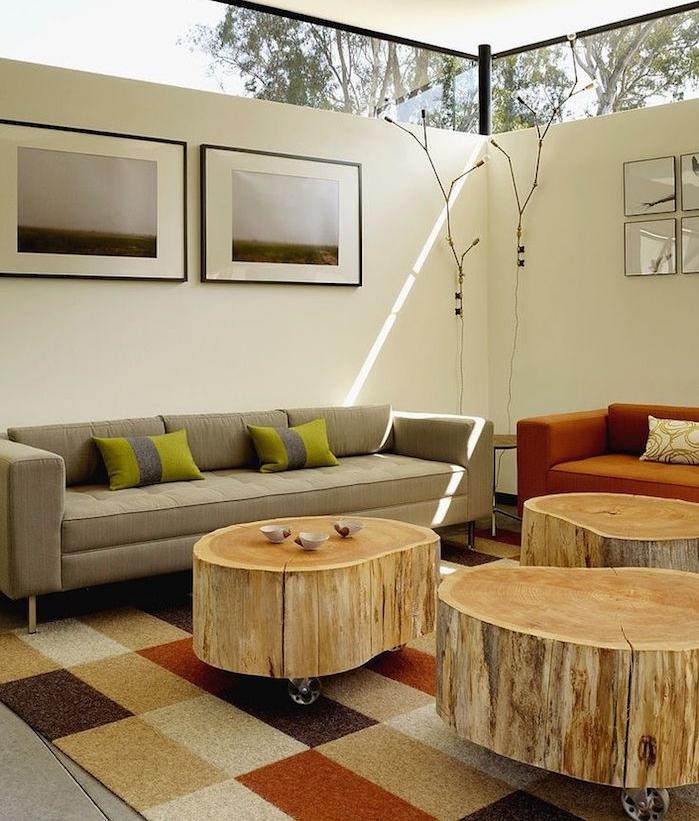 table à roulettes en tronc d arbre pour salon