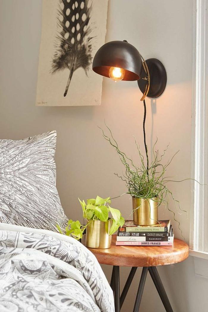Lampe de chevet suspendue 80 id es pour un clairage for Lampe de chevet noire