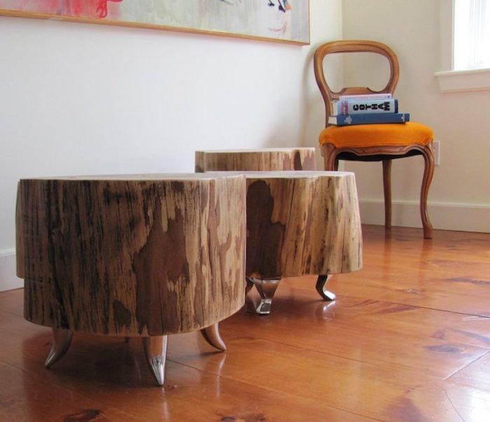 diy table basse rondin bois. Black Bedroom Furniture Sets. Home Design Ideas