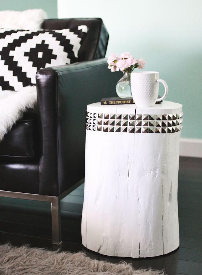 table rondin de bois deco peinture blanche deco