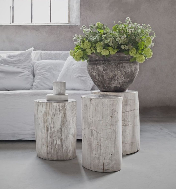 table rondin de bois blanc design deco nature