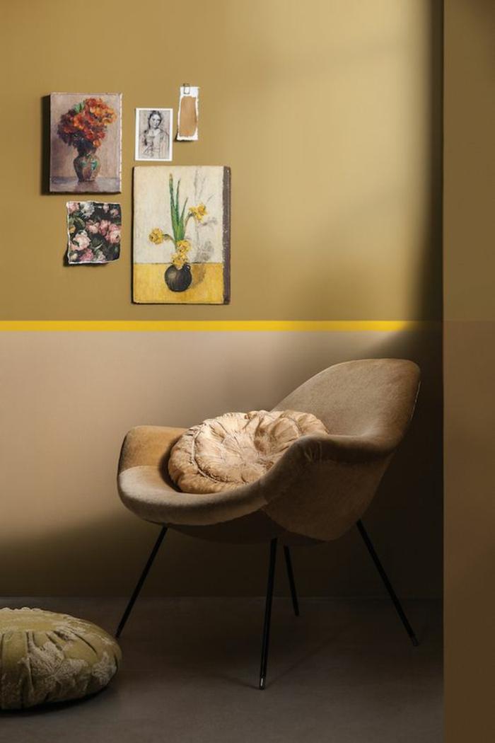 l'ocre jaune doré illumine l'intérieur et apporte une sensation de luxe