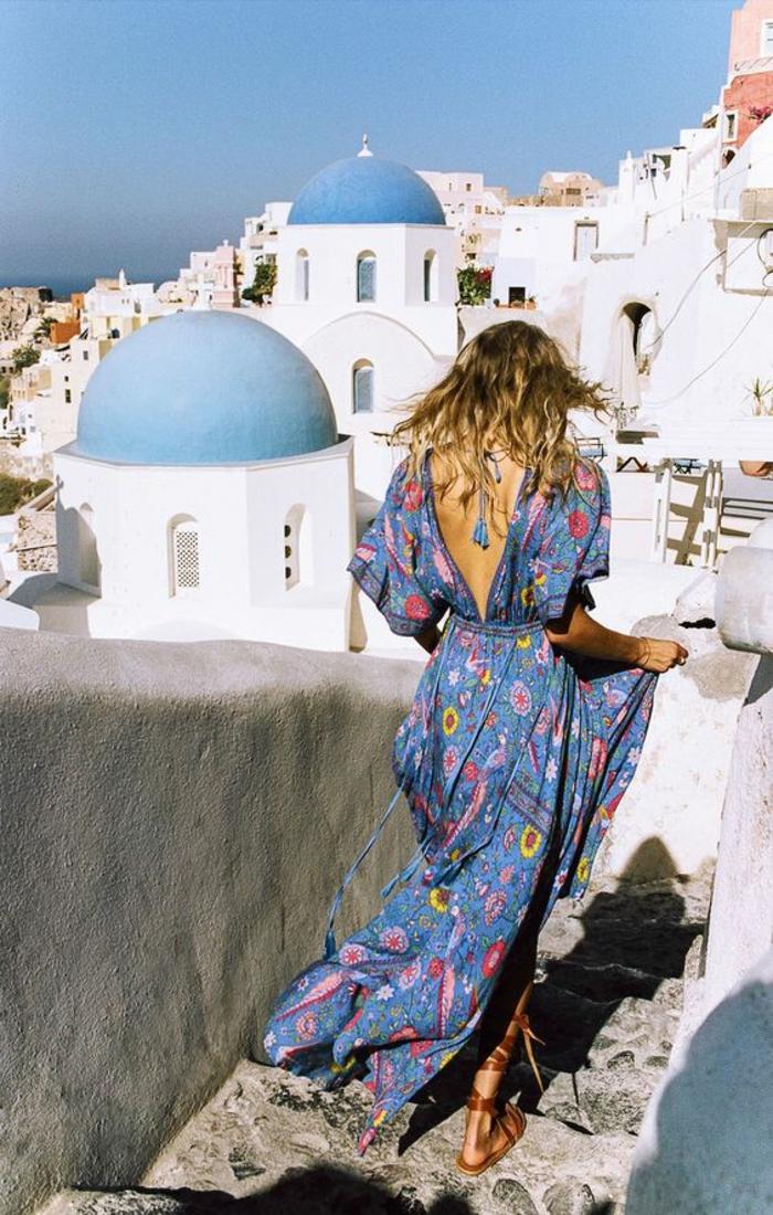 Tenue champetre femme style hippie tenue chic Sanorini robe longue