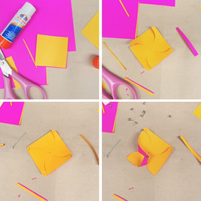 comment faire un moulin à vent à double face, idée originale pour décorer une étiquette cadeau originale