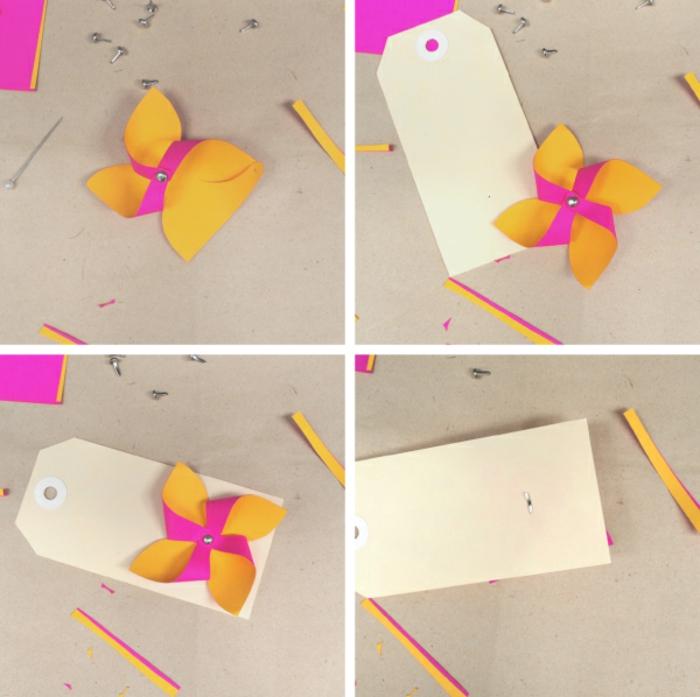 une étiquette cadeau simple décoré de mini-moulin à vent, comment faire un moulin à vent à double face
