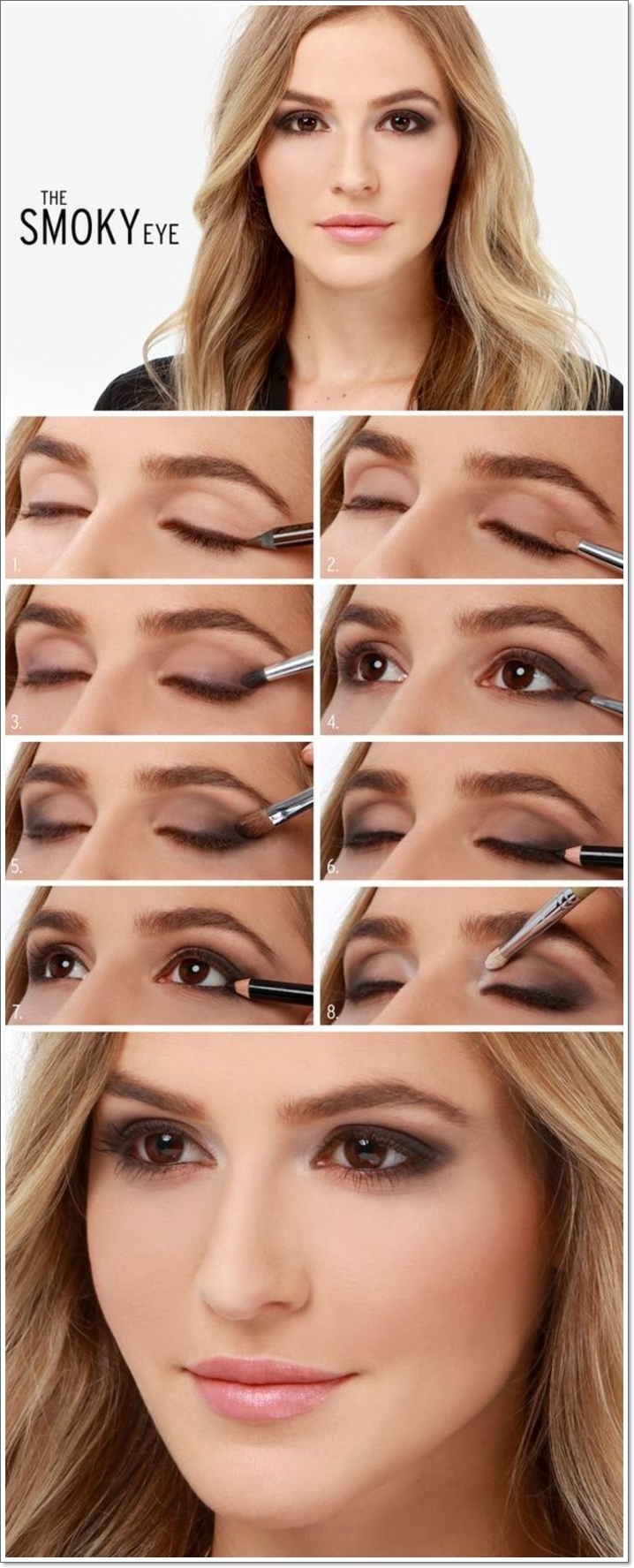 tuto maquillage yeux marrons, lèvres rose, cheveux blonds, étapes à suivre, tutoriel maquillage