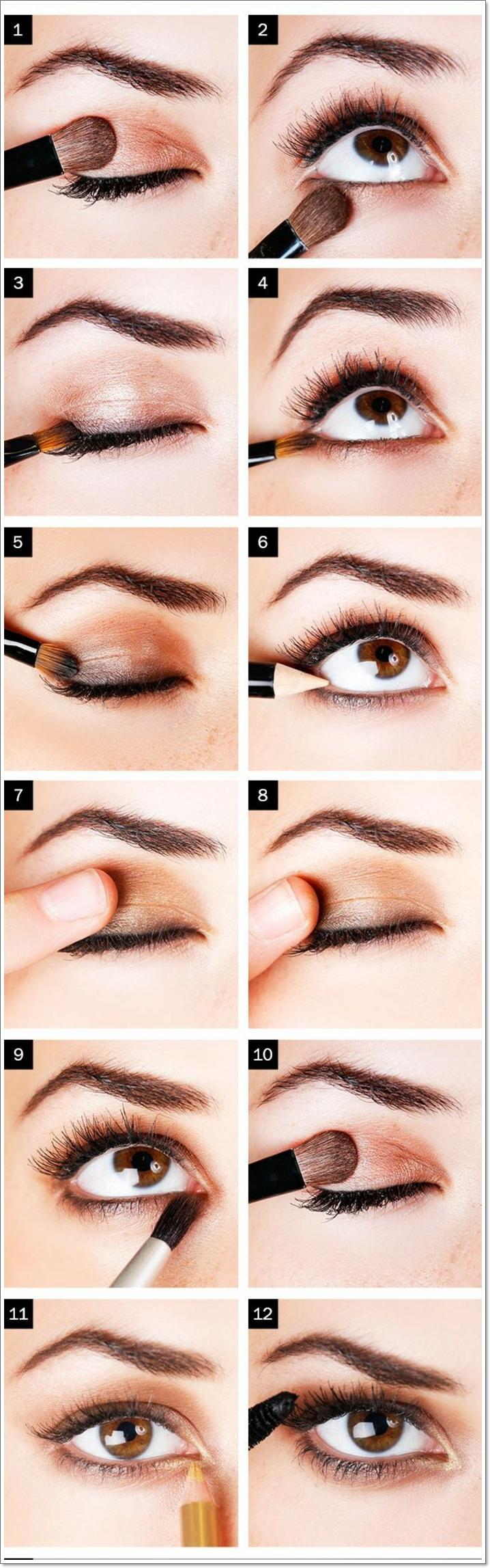 maquillage de tous les jours, étapes à suivre, pinceau smudge, tuto maquillage yeux marrons