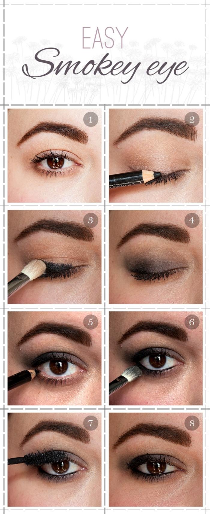 tuto maquillage yeux marrons, crayon noir, mascara noir, pinceau smudge, maquillage smoky