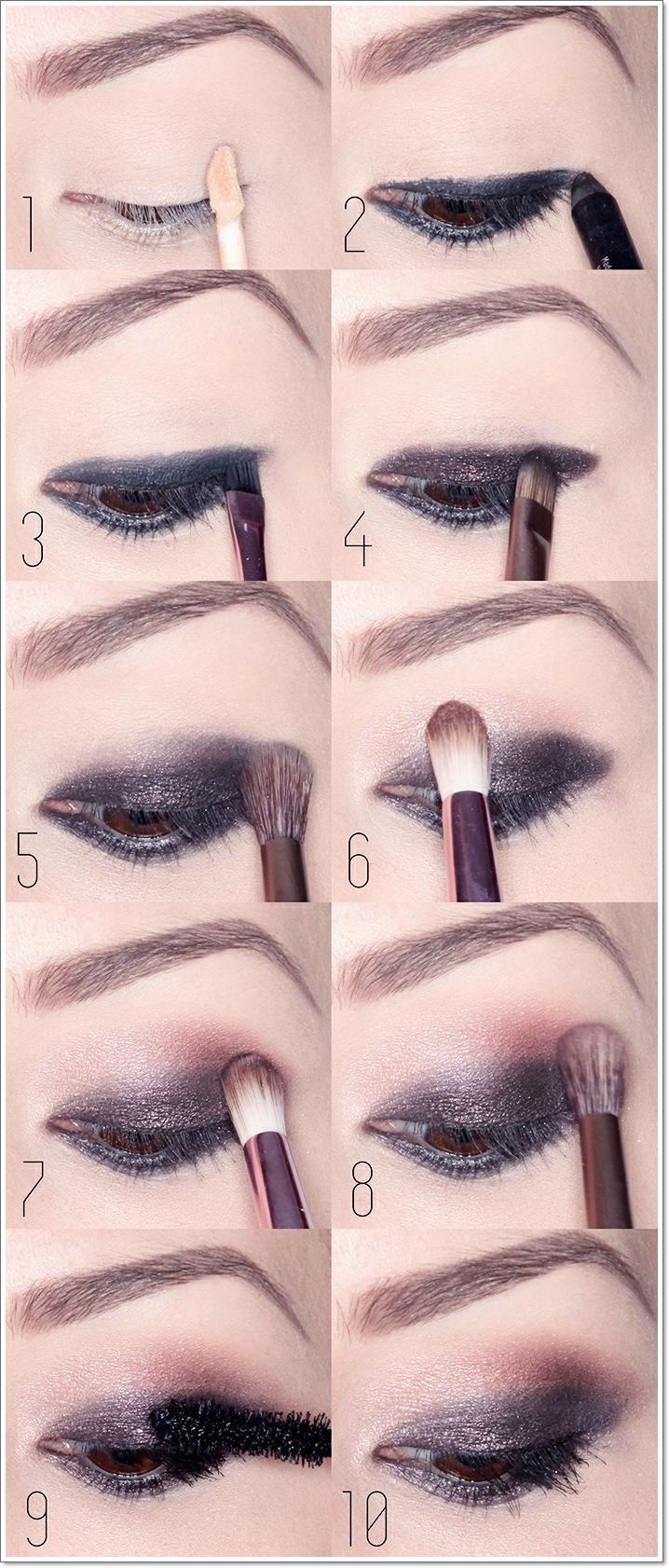 tuto maquillage yeux marrons, étapes à suivre, crayon noir, mascara noir, maquillage smoky