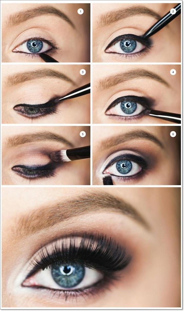 maquillage de tous les jours, faux cils noirs, sourcils blonds, yeux bleus, eye-liner noir