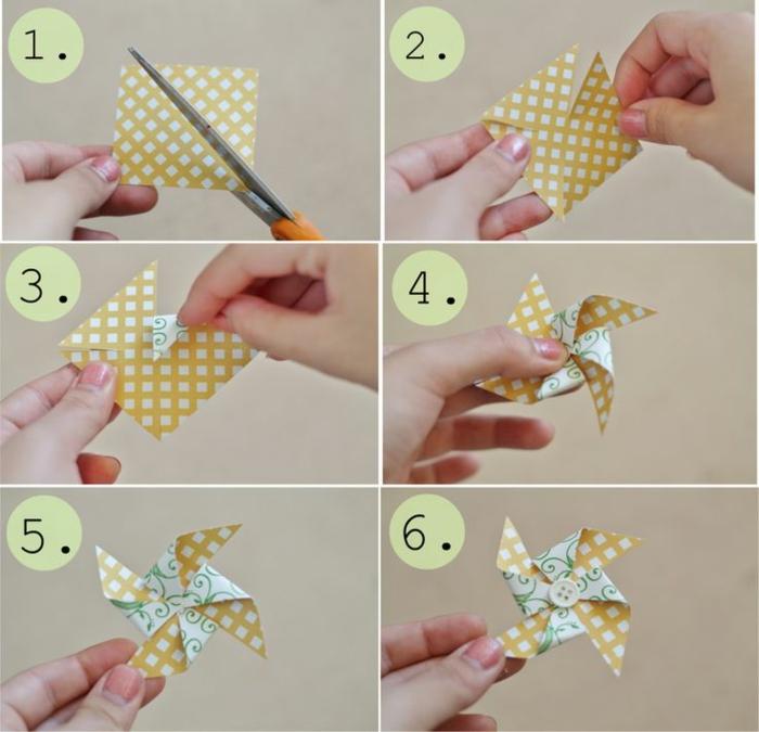 tuto super facile pour faire un mini moulent à vent à double face, boutonnière en papier originale