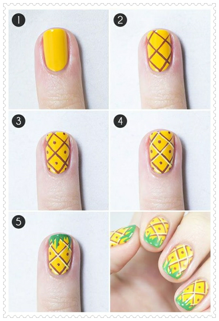 comment avoir de beaux ongles, réaliser une manucure avec pinceau, motif ananas sur les ongles