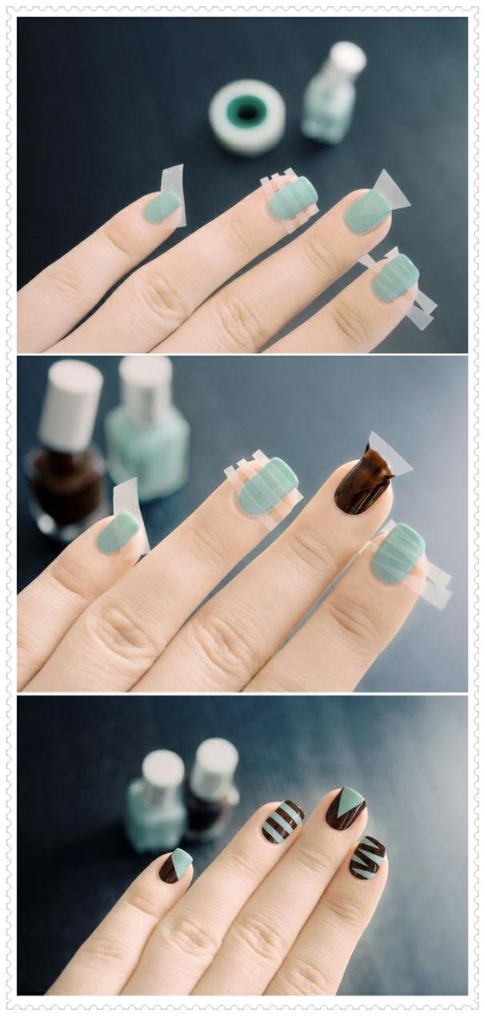 comment faire une manucure, vernis à ongles vert, manucure à motifs géométriques, décoration nail en marron, masking type
