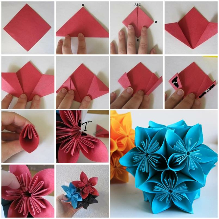 comment faire un origami fleur kusudama en quelques étapes de pliage, technique de pliage origami simple