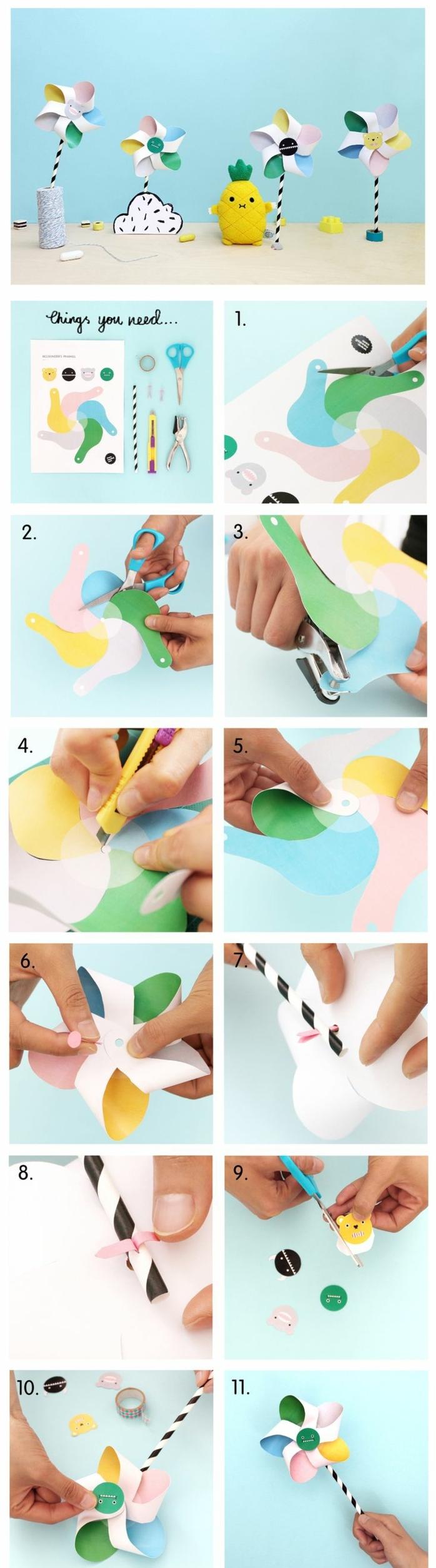 une activité manuelle amusante pour les enfants, un tuto moulin à vent monstre aux couleurs pastel
