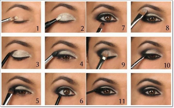 tuto maquillage yeux marrons, pinceau smudge, fard à paupières blanc, crayon eye-liner noir