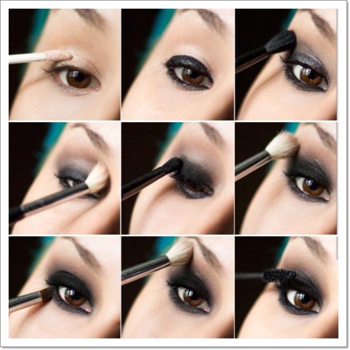 tuto maquillage yeux marrons, pinceau smudge, mascara noir, maquillage smoky, teintes foncées