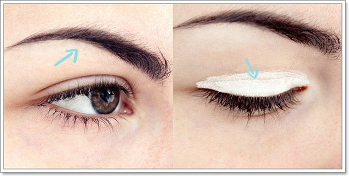 tutoriel maquillage, flèches pour diviser les zones des paupières, sourcils, teinte blanche