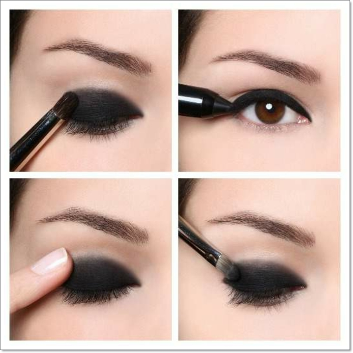 tuto maquillage yeux marrons, pinceau smudge, crayon pour les yeux noir, maquillage smoky