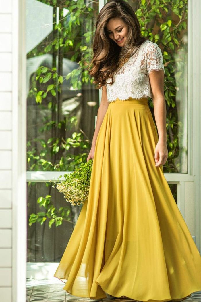 Formidable tenue ceremonie femme pantalon idée cool jupe longue jaune
