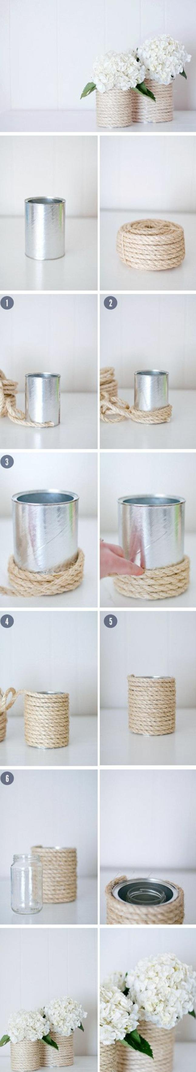 vase de fleur customisé, enveloppé de corde, tutoriel pour fabriquer un diy pot de fleur, bouquets de fleurs blancs, recyclage boite de conserve