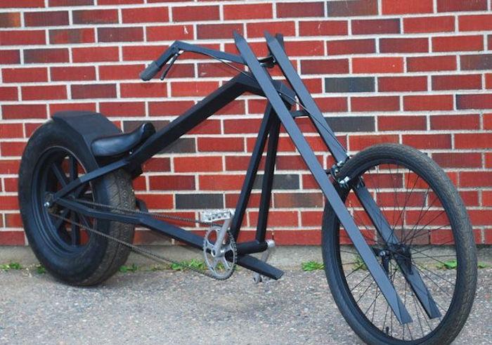 lowrider bike vélo design noir style batman fait maison