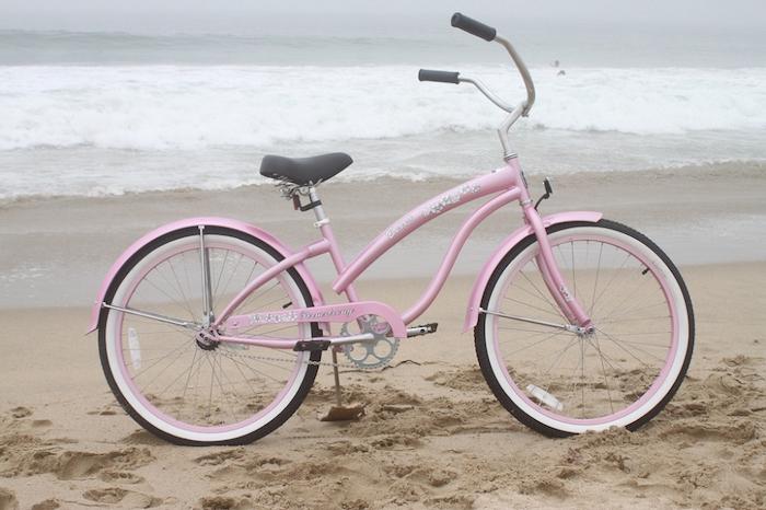 velo californien chopper bike femme rose grand guidon