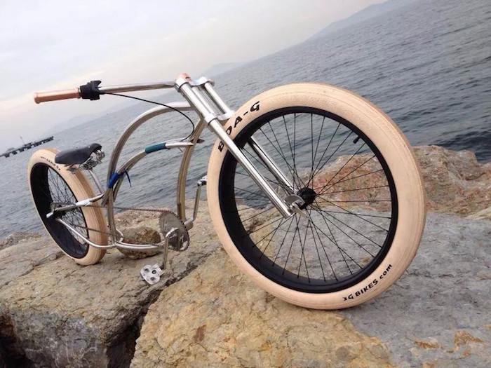 vélo lowrider chrome américain cruiser style chopper beach