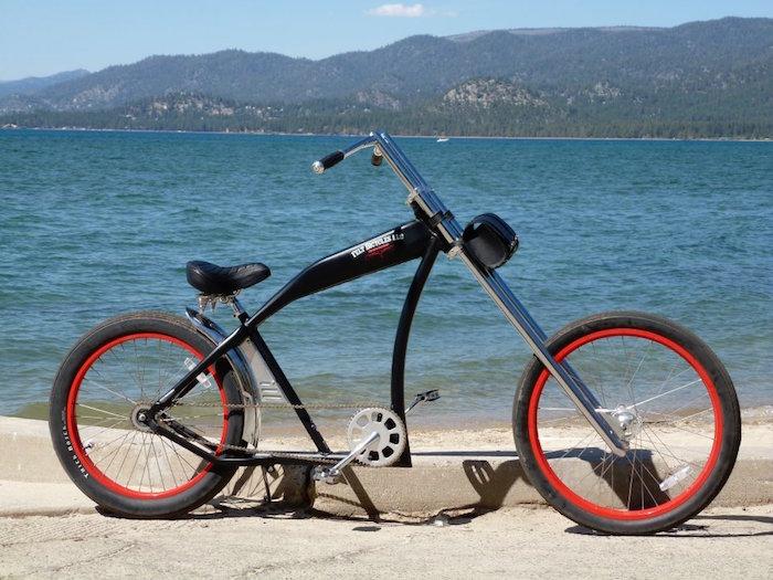 vélo chopper américain grande fourche guidon cruiser