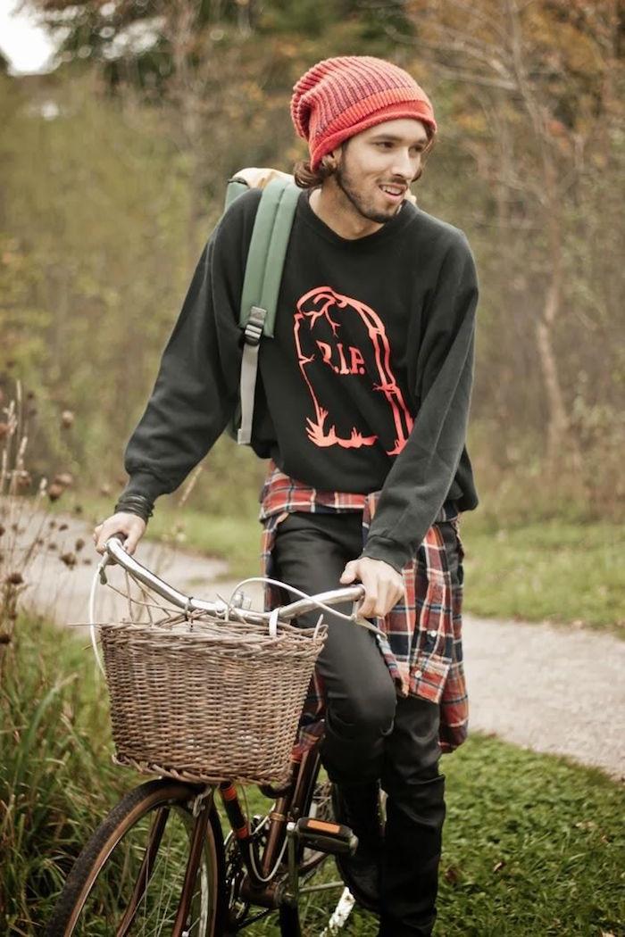 tenue grunge mode style hipster bonnet jean noir genre rock