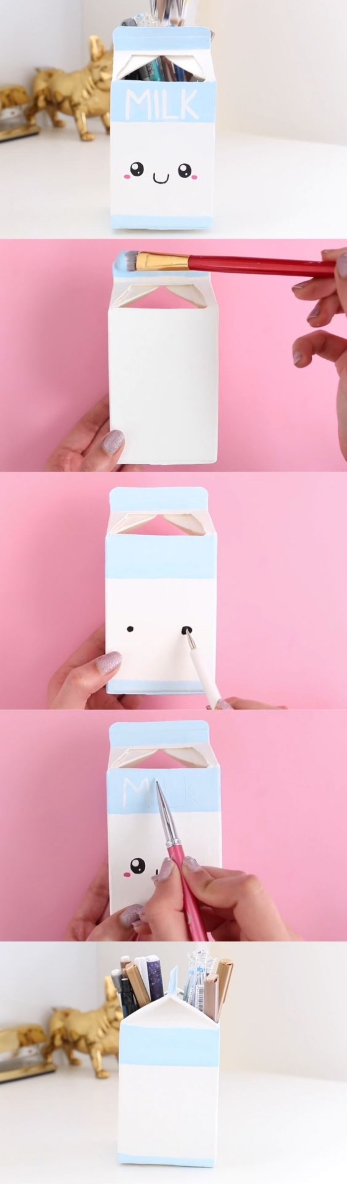 recyclage boite à lait pour fabriquer un pot a crayon soi meme, bricolage enfant facile, peinture et dessin visage mignon