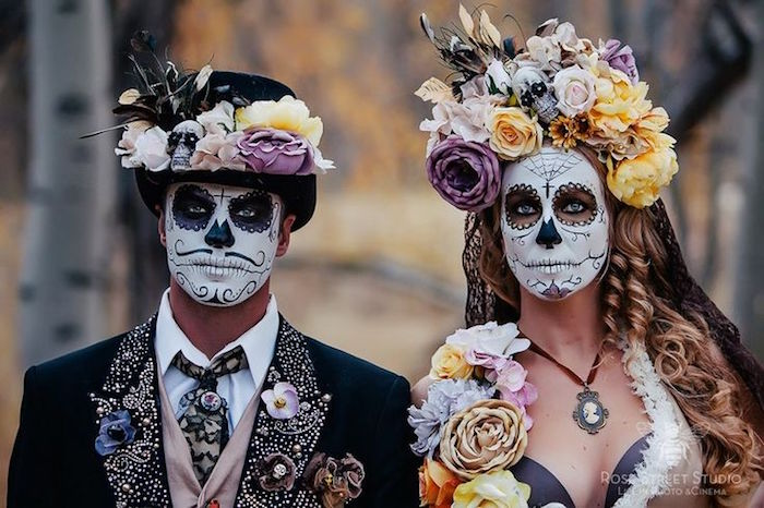 maquillage halloween couple fete des morts mexique style calavera