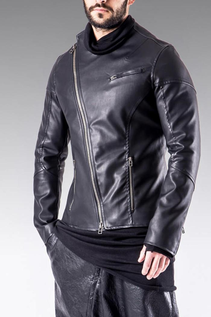 veste avec un mixe de matières naturelles et synthétiques fermeture éclair asymétrique