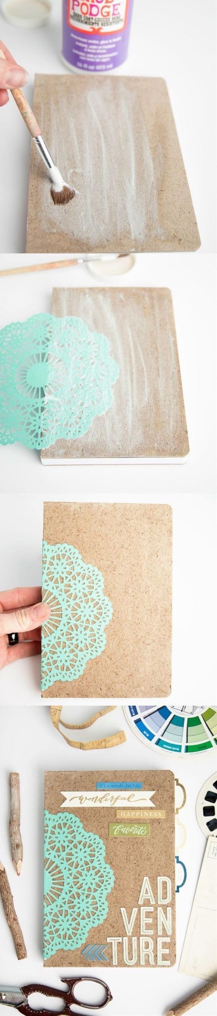 bricolage facile, comment fabriquer un carnet de voyage, couverture customisée, motifs, imprimés en papier, idée scrapbooking