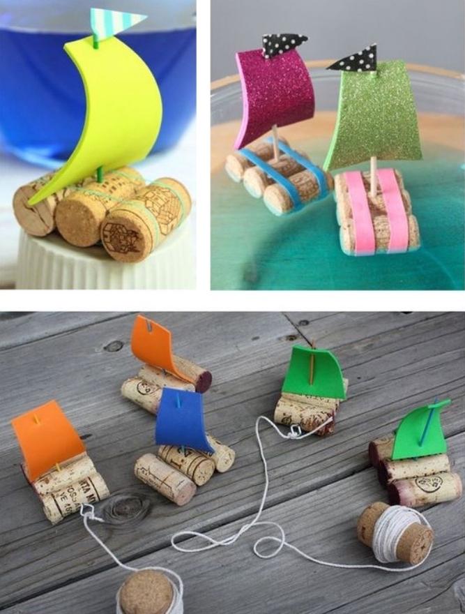 activité manuelle primaire, maternelle, de petites boites en bouchons de lège, voile en papier mousse et cure dent