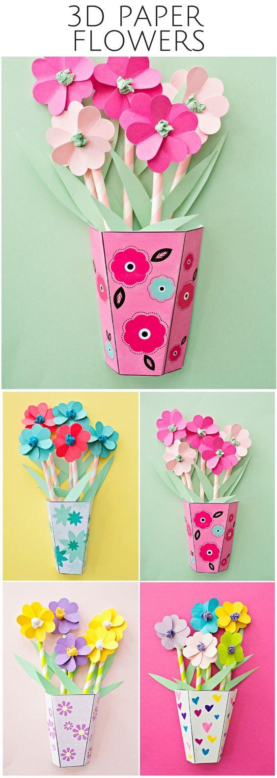 activité manuelle primaire, une boite en carton multicolore, rempli de fleur en papier, tiges en pailles, bricolage enfant été