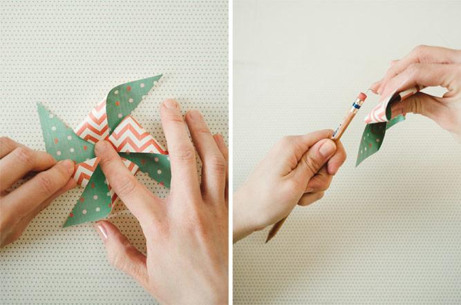 activité manuelle primaire, fabriquer un moulin à vent en papier cartonné multicolore crayon et épingle, technique bricolage enfant facile