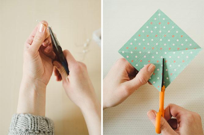 activités manuelles pour enfants, bricolage facile moulin a vent en papier, courber un épingle, couper les angles du papier