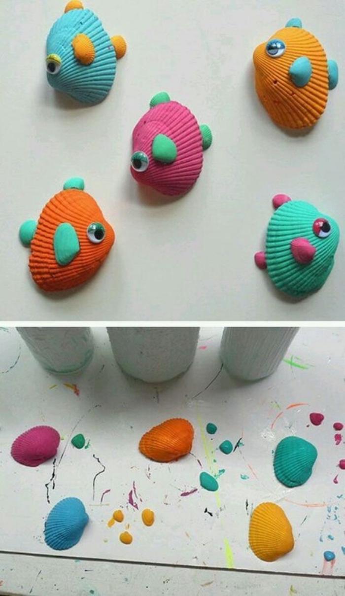 idée dessin sur coquillages pour réaliser des poissons colorés, idée bricolage enfant facile, des yeux mobiles