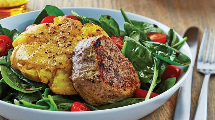 comment manger équilibré, viandes, protéines, légumes, pommes de terre en boule, manger sainement