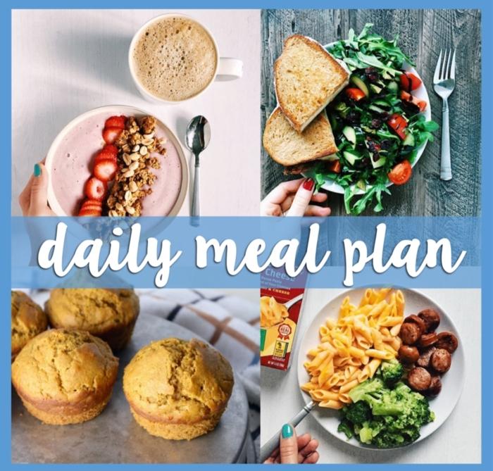 comment manger équilibré, muffins sains, yogourt aux fruits et noix, manger sainement, tasse de café, petit déjeuner
