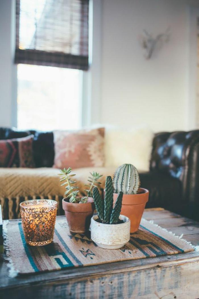 style ethnique, pots de fleurs avec cactus, tapis avec motifs aztèques, plaid avec franges