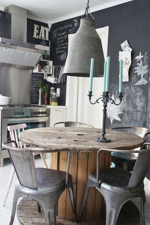 cuisine industrielle avec une table en touret, chaises metalliques, mur tableau noir, cuisine inox, suspension vintage industrielle, chandelier