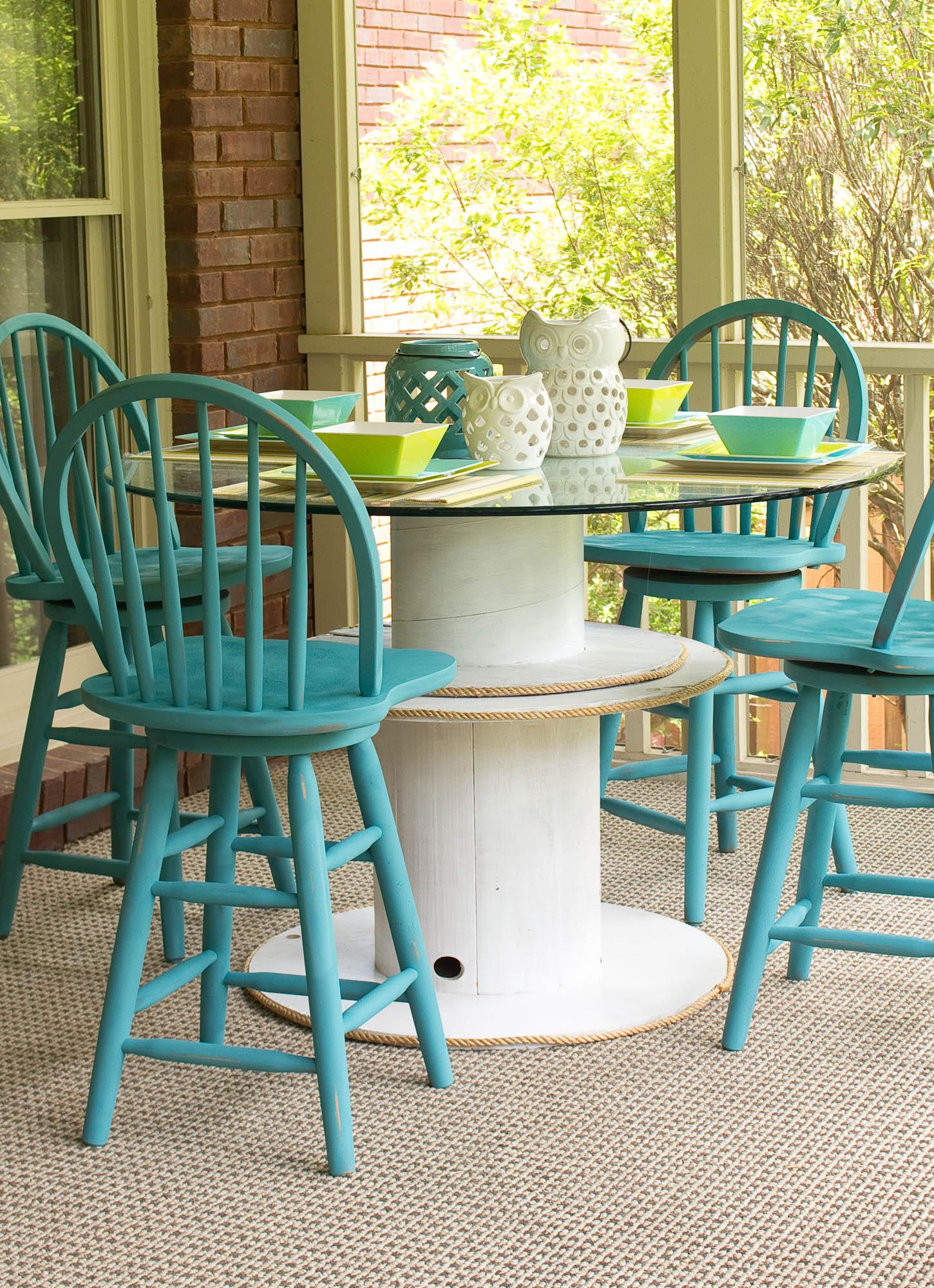 la table en touret astuces et id es pour customiser la meilleure trouvaille r cup de l ann e. Black Bedroom Furniture Sets. Home Design Ideas