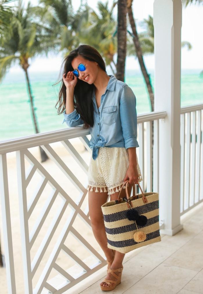 1001 images de la tenue avec chemise en jean - Tenue plage femme ...