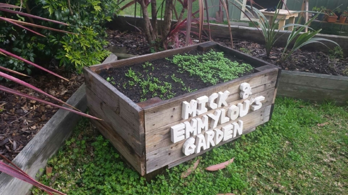 modèle de bac a fleur en palette, bois brut, idée comment planter une plante verte, lettres decoratives blanches