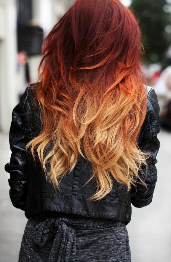 balayage miel, cheveux couleur acajou, balayage effet ombré, tenue noire femme